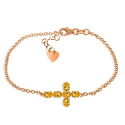 ALARRI 1.7 Carat 14K Solid Rose Gold Cross Bracelet Natural Citrine