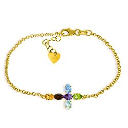 ALARRI 1.68 CTW 14K Solid Gold Cross Bracelet Natural Multi Gemstones