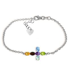 ALARRI 1.68 Carat 14K Solid White Gold Cross Bracelet Natural Multi Gemstones
