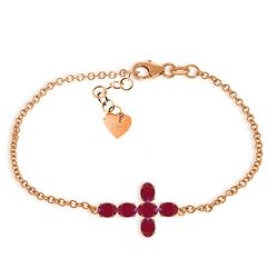 ALARRI 1.7 Carat 14K Solid Rose Gold Cross Bracelet Oval Ruby