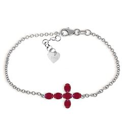 ALARRI 1.7 Carat 14K Solid White Gold Love Gospel Ruby Bracelet