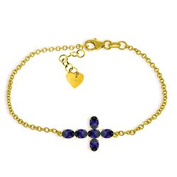 ALARRI 1.7 Carat 14K Solid Gold Cross Bracelet Natural Sapphire