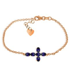 ALARRI 1.7 Carat 14K Solid Rose Gold Cross Bracelet Natural Sapphire