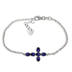 ALARRI 1.7 Carat 14K Solid White Gold Cross Bracelet Natural Sapphire