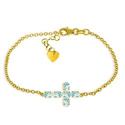 ALARRI 1.7 Carat 14K Solid Gold Cross Bracelet Natural Aquamarine