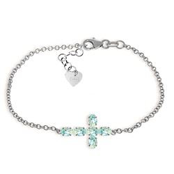 ALARRI 1.7 Carat 14K Solid White Gold Cross Bracelet Natural Aquamarine
