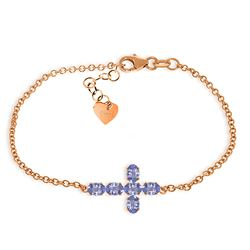 ALARRI 1.7 CTW 14K Solid Rose Gold Cross Bracelet Natural Tanzanite