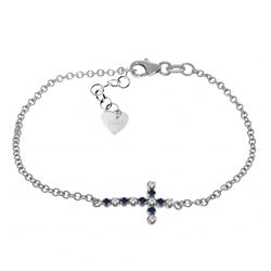 ALARRI 0.24 CTW 14K Solid White Gold Cross Bracelet Diamond Sapphire