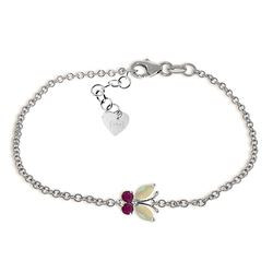 ALARRI 0.6 Carat 14K Solid White Gold Coming Down Love Opal Ruby Bracelet