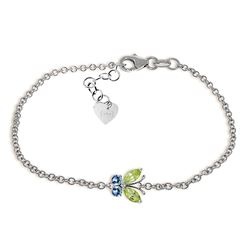 ALARRI 0.6 CTW 14K Solid White Gold Going To Pieces Peridot Blue Topaz Bracelet