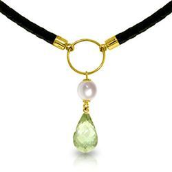 ALARRI 7.5 CTW 14K Solid Gold Leather Necklace Pearl Green Amethyst