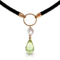 ALARRI 7.5 CTW 14K Solid Rose Gold Leather Necklace Pearl Green Amethyst
