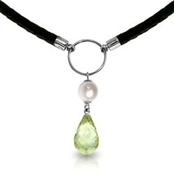 ALARRI 7.5 CTW 14K Solid White Gold Leather Necklace Pearl Green Amethyst