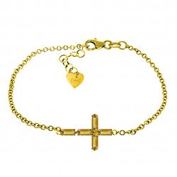 ALARRI 1.15 Carat 14K Solid Gold Cross Bracelet Natural Citrine