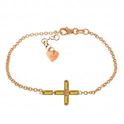 ALARRI 1.15 Carat 14K Solid Rose Gold Cross Bracelet Natural Citrine