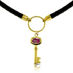 ALARRI 0.5 Carat 14K Solid Gold Leather Key Necklace Pink Topaz