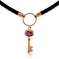 ALARRI 0.5 CTW 14K Solid Rose Gold Leather Key Necklace Pink Topaz