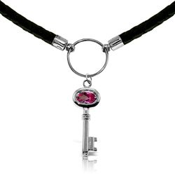 ALARRI 0.5 Carat 14K Solid White Gold Leather Key Necklace Pink Topaz