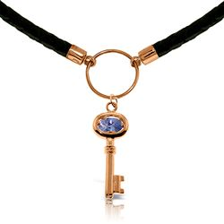 ALARRI 0.5 Carat 14K Solid Rose Gold Leather Key Necklace Tanzanite