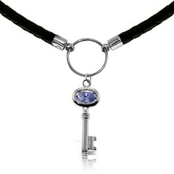 ALARRI 0.5 CTW 14K Solid White Gold Leather Key Necklace Tanzanite