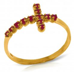 ALARRI 0.3 Carat 14K Solid Gold Cross Ring Natural Ruby