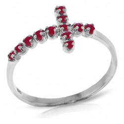 ALARRI 0.3 CTW 14K Solid White Gold Cross Ring Natural Ruby