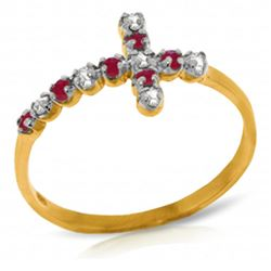 ALARRI 0.24 CTW 14K Solid Gold Cross Ring Diamond Ruby
