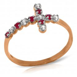 ALARRI 0.24 CTW 14K Solid Rose Gold Cross Ring Diamond Ruby