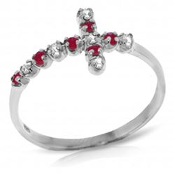 ALARRI 0.24 Carat 14K Solid White Gold Cross Ring Diamond Ruby