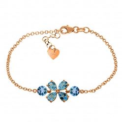 ALARRI 3.15 Carat 14K Solid Rose Gold Bracelet Natural Blue Topaz