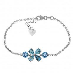 ALARRI 3.15 Carat 14K Solid White Gold Bracelet Natural Blue Topaz