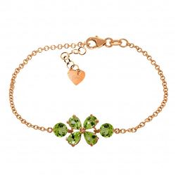 ALARRI 3.15 CTW 14K Solid Rose Gold Bracelet Natural Peridot
