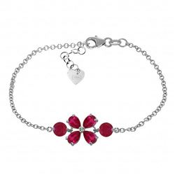 ALARRI 3.15 CTW 14K Solid White Gold Bracelet Natural Ruby