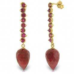 ALARRI 29.2 Carat 14K Solid Gold Drop Briolette Ruby Earrings