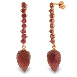 ALARRI 29.2 Carat 14K Solid Rose Gold Drop Briolette Ruby Earrings