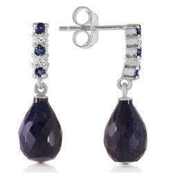 ALARRI 6.9 Carat 14K Solid White Gold Diamond Sapphire Earrings Dangling Briolett