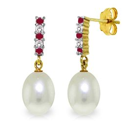 ALARRI 8.3 Carat 14K Solid Gold Diamond Ruby Earrings Dangling Briolette Pearl