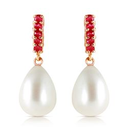 ALARRI 8.4 Carat 14K Solid Rose Gold Ruby Earrings Dangling Briolette Pearl