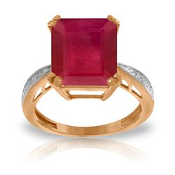 ALARRI 7.27 Carat 14K Solid Rose Gold Ring Natural Diamond Ruby