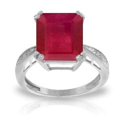 ALARRI 7.27 CTW 14K Solid White Gold Ring Natural Diamond Ruby