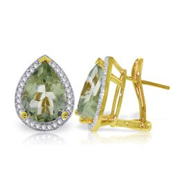 ALARRI 6.82 Carat 14K Solid Gold French Clips Earrings Diamond Green Amethyst