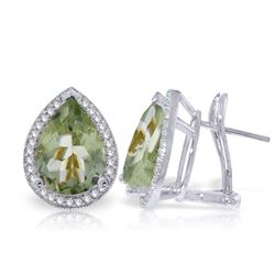 ALARRI 6.82 Carat 14K Solid White Gold French Clips Earrings Diamond Green Amethyst