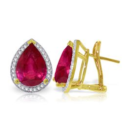 ALARRI 11.02 Carat 14K Solid Gold French Clips Earrings Diamond Ruby