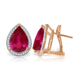 ALARRI 11.02 CTW 14K Solid Rose Gold French Clips Earrings Diamond Ruby