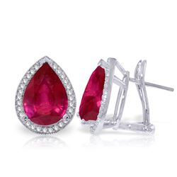 ALARRI 11.02 Carat 14K Solid White Gold French Clips Earrings Diamond Ruby