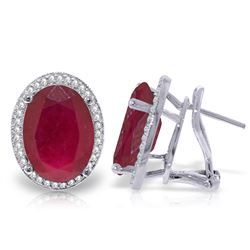 ALARRI 15.86 Carat 14K Solid White Gold French Clips Earrings Diamond Ruby