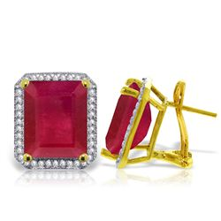ALARRI 14.9 Carat 14K Solid Gold French Clips Earrings Diamond Ruby