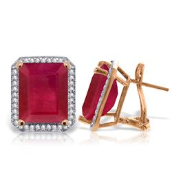 ALARRI 14.9 Carat 14K Solid Rose Gold French Clips Earrings Diamond Ruby
