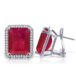 ALARRI 14.9 Carat 14K Solid White Gold French Clips Earrings Diamond Ruby