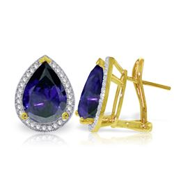 ALARRI 10.52 CTW 14K Solid Gold French Clips Earrings Diamond Sapphire